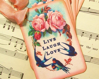 Live, Laugh, Love Gift Tags, Set of 6, Bookmarks, Book Club Favors, Pink Roses, Eastern Blue Birds, Reading Club Favors