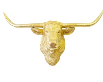 Gold Texas Longhorn Wall Mount - Unique Metallic Gold Steer Home Decor - Faux Taxidermy- TLH0808