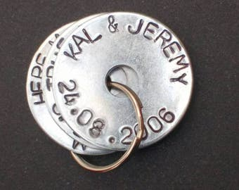 PERSONALISED hand-stamped mummy/daddy keyring - children's names - birth dates - coordinates - unique, personal, INEXPENSIVE GIFT! <3