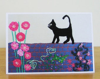 Black Cat On Wall Card, Art Card, Recycled Card, Blank Card