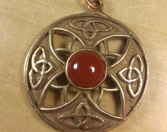 Bronze and Carnelian Celtic Knot Pendant