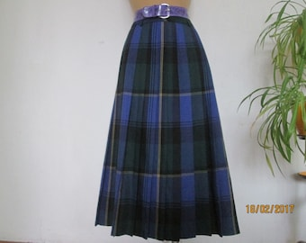 Wool Pleated Skirt / Woolen Skirt / Pleated Skirts /Long  Pleated Skirt / Size EUR44 / UK16 / Tartan / Plaid / Checkered