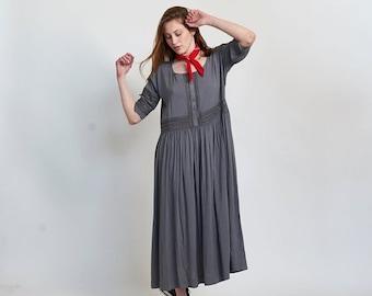 Pre Winter Sale 15% Placket Eyelet maxi dress-maxi Grey dress.
