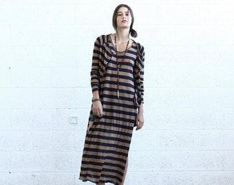 Pre Winter Sale 15% SALE!Striped Cardigan, Brown+Black