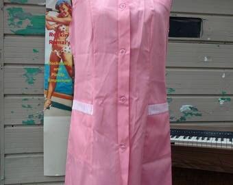 Retro Vintage 1960s Pink Uniform Candy Striper Beautician Diner Donut Cupcake Shop Outfit