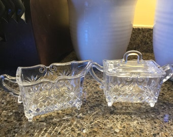 Footed Square Glass Creamer and Sugar Set