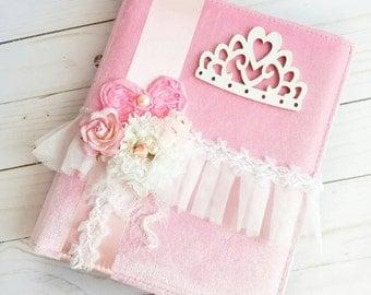 Princess Album, Pink Princess Album, Personalized Album, Baby Girl Album, Pink Velvet, Handmade Flowers, Fabric Photo Album, Wedding Album