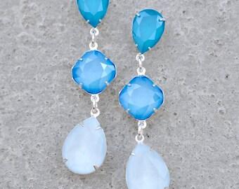 Powder Blue Bridesmaids Earrings Swarovski Crystal Ombre Bridal Earrings Color Block Powder Blue Fiesta Earrings Azore Tropical Blue Clip On