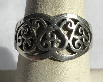 Vintage Sterling Silver Filigree Ring-Size 6 3/4