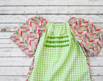 Girls' Christmas Holiday Dress Size 2T Green Gingham and Christmas Calico