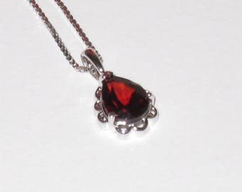 "Dainty Sterling 18"" Chain & Pendant w/ Deep Red Teardrop Glass Stone / Gift For Her / Free US Shipping"