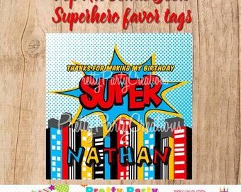 Pop Art COMIC BOOK Superhero favor tags - YOU Print