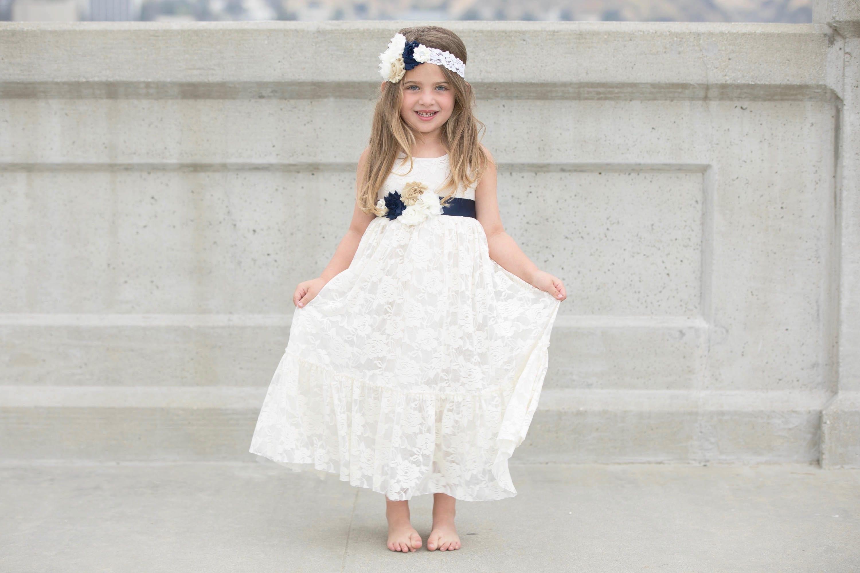 Navy Blue And Ivory Lace Flower Girl Dress Flower Girl Dresses