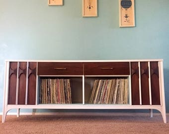 Vintage Mid Century Kent Coffey Perspecta Credenza Repurposed Painted Record Storage