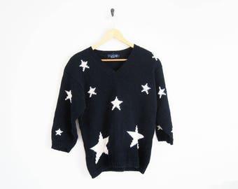 Vintage 90s Knit Sweater. Nordstrom Navy Blue Sweater Jumper. Star Sweater. Knit Ovesized Sweater Pullover.