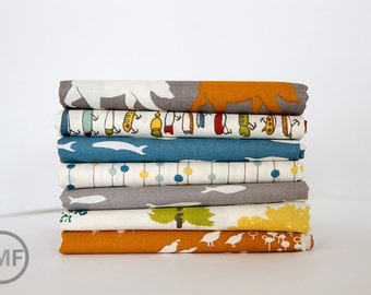 Feather River Fat Quarter Bundle, 7 Pieces, Jay-Cyn Designs, 100% GOTS-Certified Organic Cotton Poplin, Birch Fabrics, FR