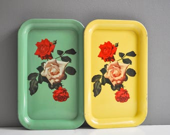 Pair of Mid-Century Metal Rose Serving Trays - Rectangular Serving Tray