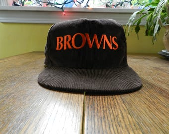 vintage Cleveland Browns snapback Starline Corduroy Hat retro cap baseball 80s 90s NFL football brown script
