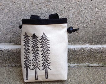 chalkbag, chalk bag, linoprint, handcarved, blockprinted, rock climbing chalk bag, trees, 1-3 day order