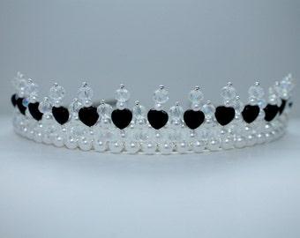 Small Black Heart, Pearl and Crystal Tiara,  Bridal Tiara, Princess Tiara, Birthday Tiara