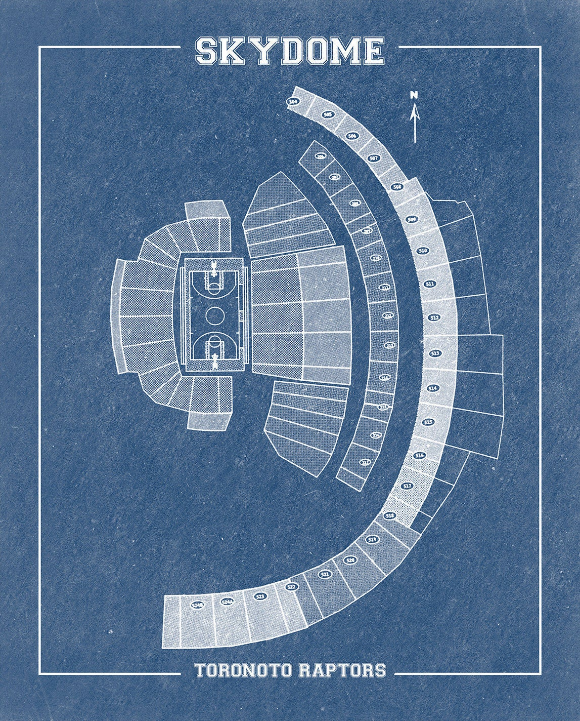 Vintage print of skydome seating chart on premium photo for 12x15 calculator