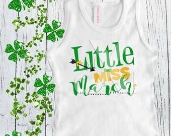 "Birthday March Tee ""Little Miss March"" St. Patty's Day Birthday Tee shirt, St. Patricks day tee shirt, Birthday tee shirt"