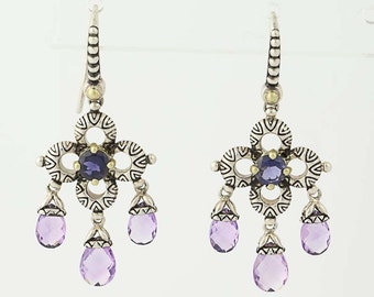 Amethyst and Iolite Earrings - Sterling Silver & 18k Gold Pierced N6045