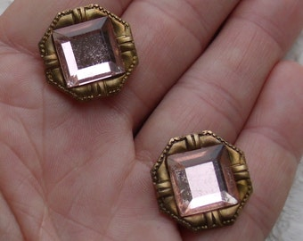 Pale Pink Clip Earrings ~ Baroque style brass with vintage mirror glass