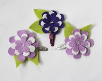 Purple Baby Hair Clips - Set of 3 Baby Snap Clips - Flower Bow - Hair Clip - Felt Hairclip for Babies and Toddlers
