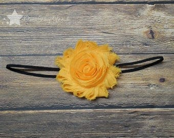 Black and gold, baby elastic headband, baby headband, infant headband, newborn headband, baby girl, elastic headband, black and yellow, clip