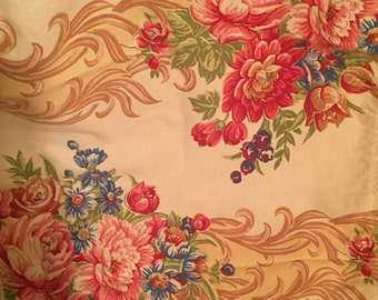 Gorgeous antique vintage estate sale find 1940s barkcloth era floral scrolls roses 3pc lot runners dresser set