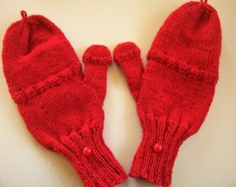Wool convertible mittens / fingerless gloves, size L, glittens, flip top mittens w/flip top thumb, texting mitts