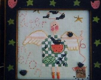 50%OFF Fanci That Primitive WONDERFUL WATERMELON Angel Folk Art - Counted Cross Stitch Pattern Chart
