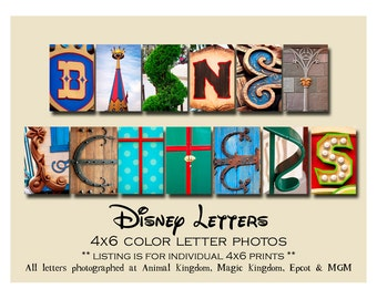 Disney Photo Letter Art,  Individual 4x6 COLOR Letter photos Alphabet Photography from Walt Disney World and DisneyLand
