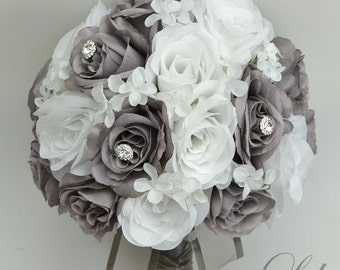 "17 Piece Package Wedding Bridal Bouquet Silk Flowers Bouquets Artificial Bride WHITE GREY JEWELS Faux Diamonds ""Lily of Angeles"" GYWT01"""