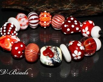 AV-Beads handmade Lampwork Set  Valentine SRA