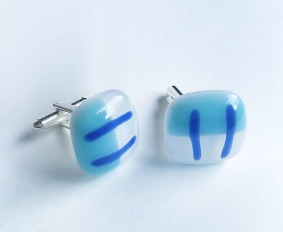 Blue and White Cufflinks