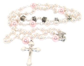 Personalized Baptism Rosary, White & Pink Pearls - You Choose Name / Custom Name Rosary for Baptism Godparent Gift