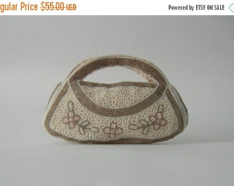 20% OFF Vintage Purse, 1930s Purse, Vintage Handbag, 1930 Handbag, Glass Beaded Purse, Small Vintage Clutch, Art Deco Purse, White and Silve