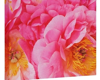 Hot Pink Peonies Wall Canvas. Botanical Nature Photography. Pink Girl Bedroom Decor. Whimsical Shabby Chic Floral Spring Summer Home Decor