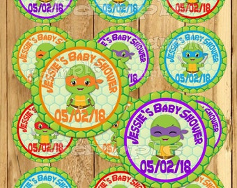 Ninja Baby Thank you tags Baby Shower stickers baby turtle Party favor tags Custom Gift tags Cupcake toppers  Birthday Party tags PRECUT