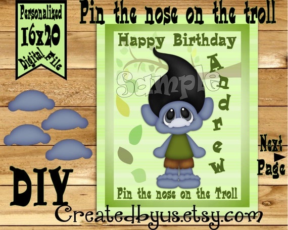 Trolls Printable Pin The Nose On The Tail