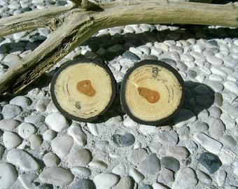 WOODEN CUFFLINKS Round Catkin Tree Branch Wood Handcrafted Wooden Cufflinks