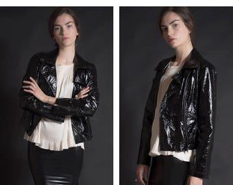 Patent Leather Motorcycle Jacket / Vintage PVC Jacket / Size S