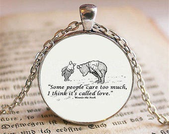 Winnie The Pooh and Piglet Some People Care Glass Cabochon Pendant Necklace