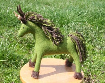 Rustic Woodland Fae Unicorn ~ Wool Felt Fantasy Plush, Stuffed Animal Toy, Eco Friendly, Green Unicorn, Faerie, Waldorf, Antlers, Kids Gift