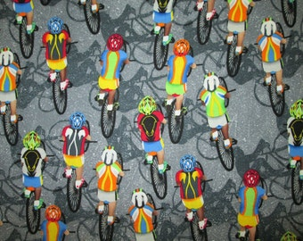 Racing Bicycle Cycling Gray Cotton Fabric Fat Quarter Or Custom Listing