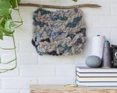 ON SALE Woven Wall Hanging | Abstract Grey Rug Yarn Weaving with Blue and Teal on Driftwood Stick