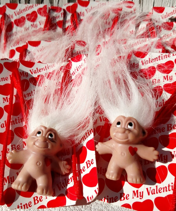 Vintage 1990's Norfin Troll Doll Necklace Valentines - Lot of 7