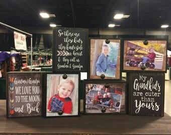 Photo frame, photo holder, photo block, grandkids,Christmas,wedding,personalized custom...sign block ONE PHOTO BLOCK..mix and match quotes